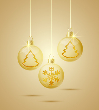 glass Christmas balls with golden ornaments inside Vector