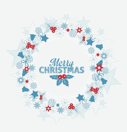 Frame with Christmas decorations with space for text Vector