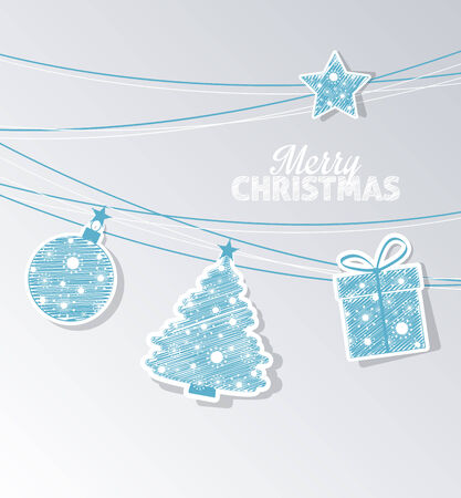 Christmas labels in the shape of a tree, balls and gifts Vector