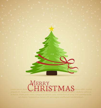 Retro decorative Christmas tree, vector Christmas card Vector