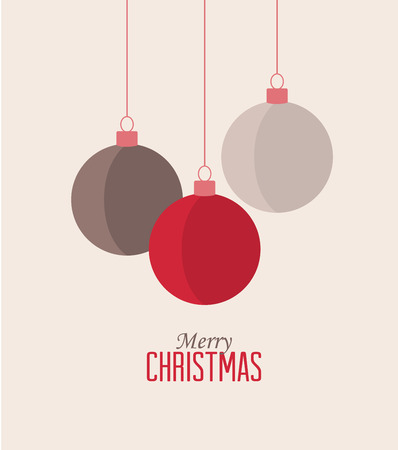 Retro decorative Christmas balls, vector Christmas card Vector