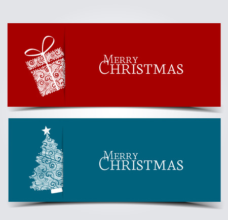 Two banners with Christmas tree and box
