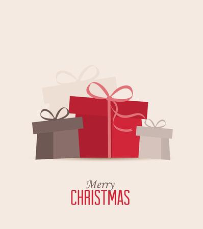 mo�os de navidad: Retro regalos, vector tarjeta de Navidad decorativos de Navidad
