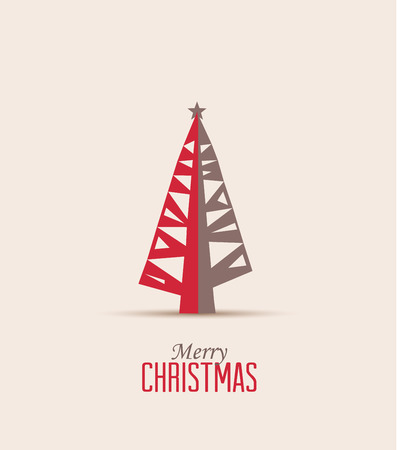Retro decorative Christmas tree, vector Christmas card Vector