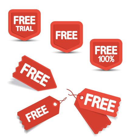 Set of red free tags, buttons and icons for websites
