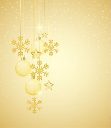 Christmas background with Christmas balls and golden ornaments Vector