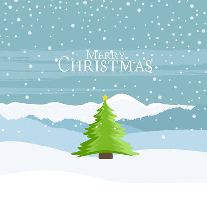 Christmas landscape and green Christmas tree in the background Vector