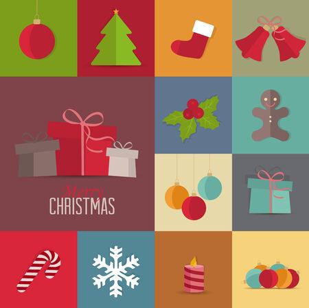 Set of Christmas icons, Christmas retro card Vector