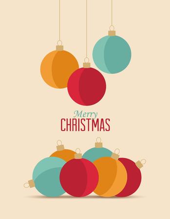 Retro decorative palle di Natale, vettore Cartolina di Natale