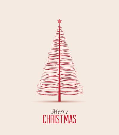 Retro decorative Christmas tree, vector Christmas card