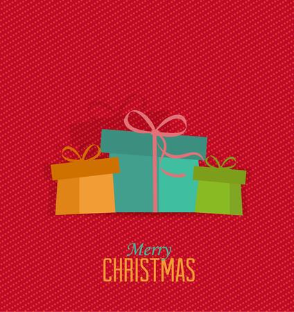 Retro decorative Christmas presents, vector Christmas card Vector