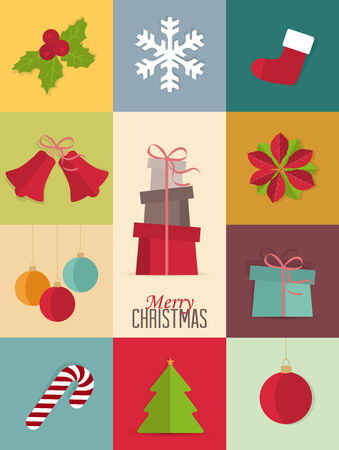 Set of Christmas icons, Christmas retro card Vector