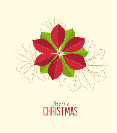Retro decorative poinsettia flower, vector Christmas card Vector