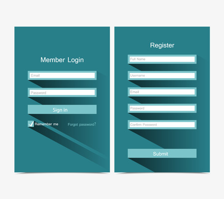 Registration and login form, flat UI design Vector