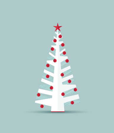 Vector white Christmas tree on blue background