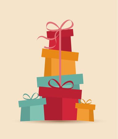 レトロな装飾的なクリスマス プレゼント、クリスマス カード ベクトルします。  イラスト・ベクター素材