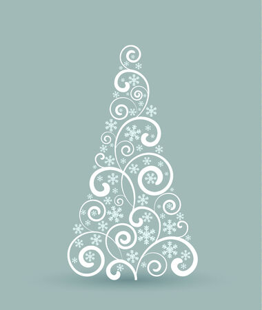 Decorating a Christmas tree with ornaments, Christmas card Vector