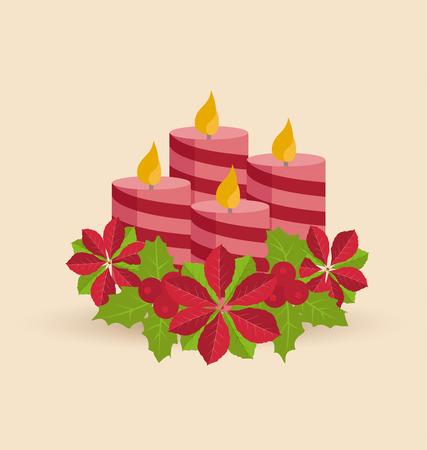 corona de adviento: Decoración retro vela de Navidad con flores flor de pascua