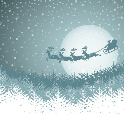winter scene: Christmas landscape with Santa Claus and sleigh