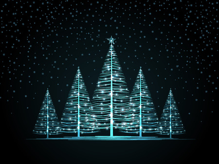 Vector Christmas trees on a dark background