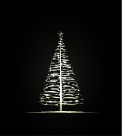 Vector Christmas tree on a dark background Vector