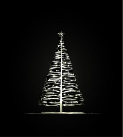 Vector Christmas tree on a dark background