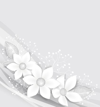 Fondo con las flores blancas y hojas de plata