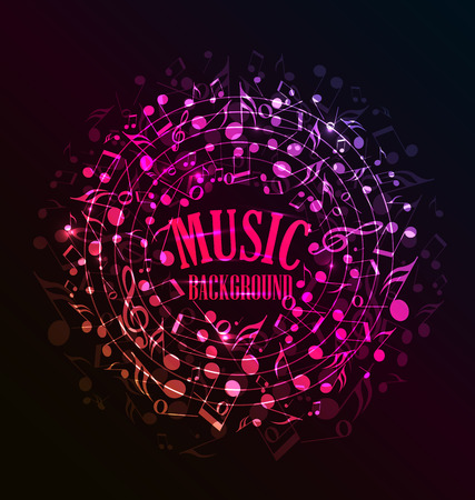 funky music: Vector musical dark background with notes