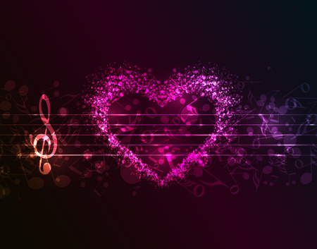Vector dark background with a heart of musical notes