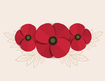 Vector red romantic poppy flowers and grass Illustration