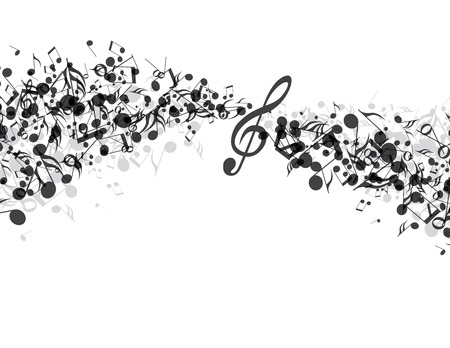 Decoration of musical notes in the shape of a wave