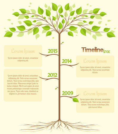 Timeline shaped tree with space for your text Çizim