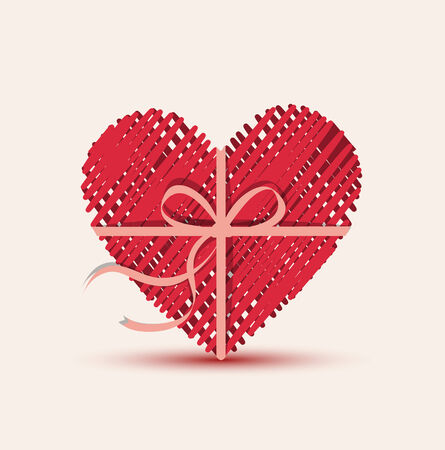 valentines day background: Vector illustration of heart as a gift pack