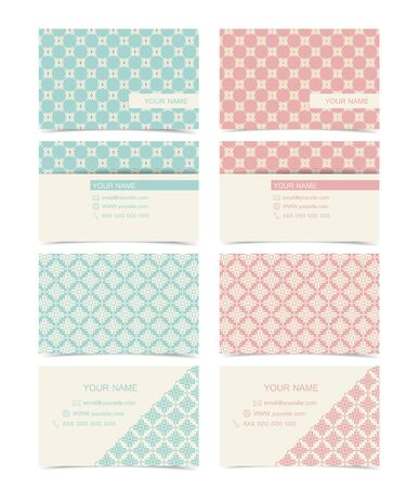 Retro business cards design in two sided Vector