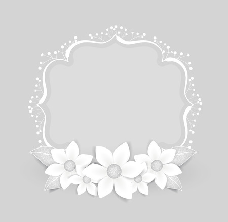 Floral frame with white flowers with place for text Vector