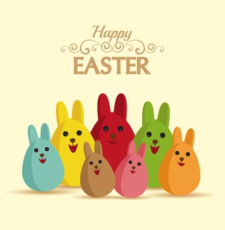 rabbit ears: Vector Happy easter eggs with rabbit ears