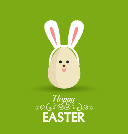 Vector Happy easter eggs with rabbit ears Vector