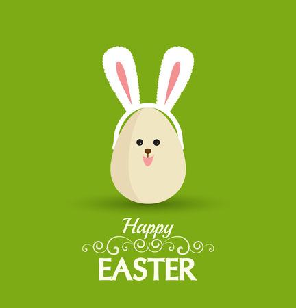 vector eggs: Vector Happy easter eggs with rabbit ears