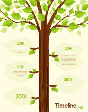 tree leaf: Timeline shaped tree with space for your text Illustration