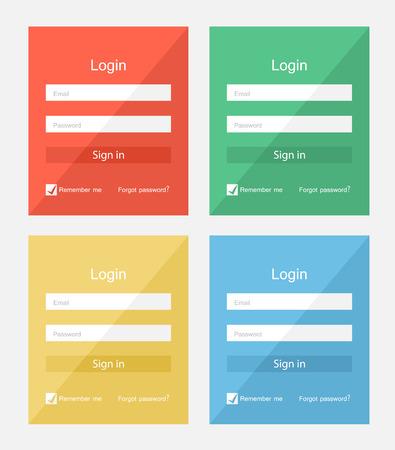color registration: Set of different colors login forms, flat UI design Illustration