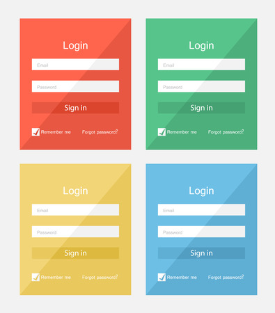 Set of different colors login forms, flat UI design Illustration