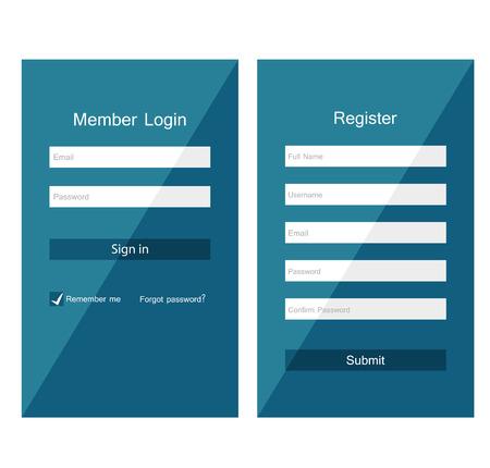 registration: Registration and login form, flat UI design