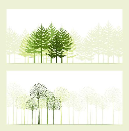 ilustracion: Dos banderas con el paisaje de fondo de �rboles