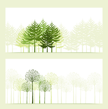 design drawing: Two banners with the background landscape with trees Illustration