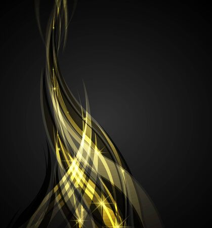 Abstract waves yellow on a dark background Vector