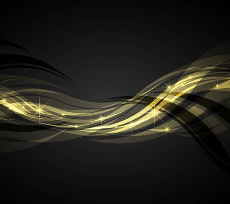 waves: Abstract waves yellow on a dark background