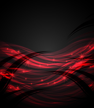 abstract waves: Abstract waves red on a dark background