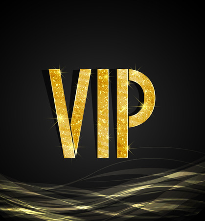 Black background of golden text VIP, vector