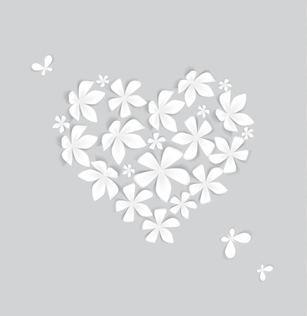 Heart decorated with white flowers, vector illustration Illustration