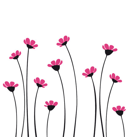 Vector flowers with pink petals on a white background